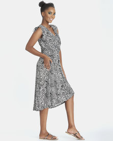 Contempo Monotone Cover Up Dress Black/White