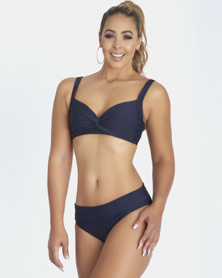 Contempo Plain Bikini Top Navy