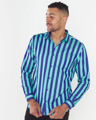 JCrew Vertical Stripe Shirt Green