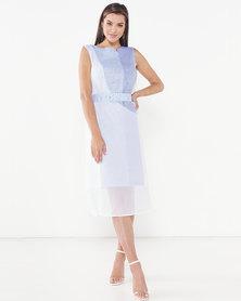 Judith Atelier Isa (B) Aline Combo Linen Dress Blue