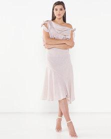 Judith Atelier Zora Frill Asymmetrical Dress Beige