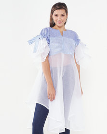Judith Atelier Bella (B) Sheer Linen Combo Coat Blue/White