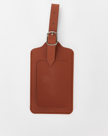 You & I Leather Look Luggage Tag Brown