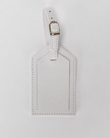 You & I Classic Leather Look Luggage Tag White