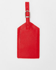 You & I Classic Leather Look Luggage Tag Red