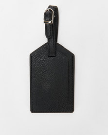 You & I Classic Leather Look Luggage Tag Black