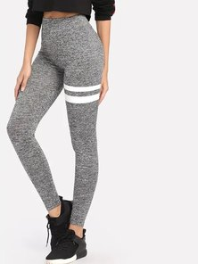 Elite Occasions Striped Marled Knit Leggings Grey