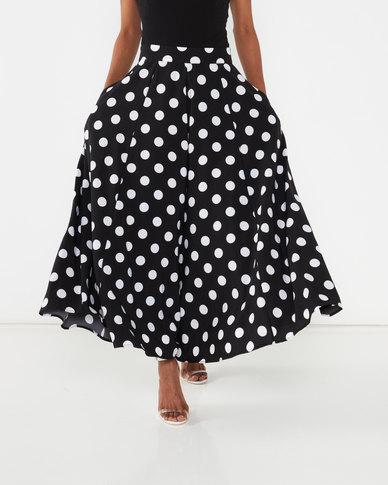 Queenspark Full Circle Dot Woven Skirt Black/White