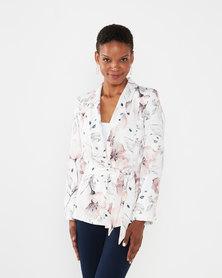 Queenspark Tuxedo Pretty Pastel Woven Jacket White
