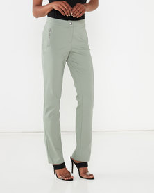 Queenspark Zip Detail Sateen Woven Trousers Sage