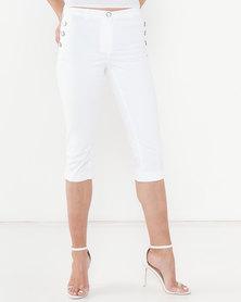 Queenspark 3 Button Woven Shorts White