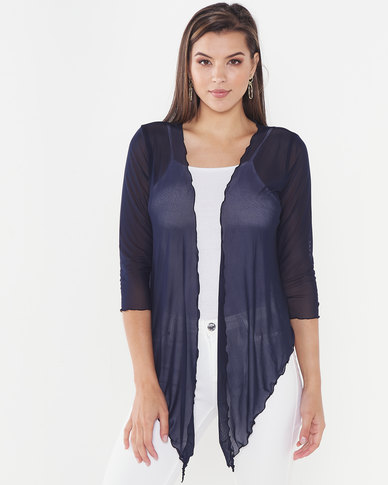 Queenspark Mesh Knit Coverup Jacket  Navy