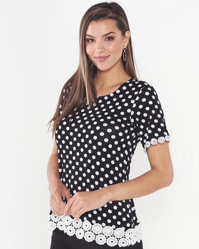 Queenspark Polka Dot Short Sleeve Core Knit Top Black