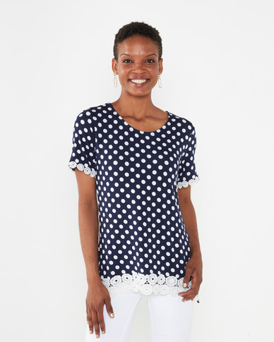 Queenspark Polka Dot Short Sleeve Core Knit Top Navy