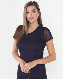 Queenspark Double Layer Mesh Knit Top Navy