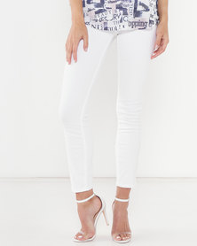 Queenspark Plaited Pocket Detail Denim Jeans White