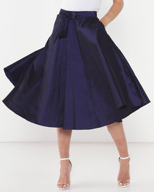 Queenspark Shimmer Taffetta Woven Skirt Navy