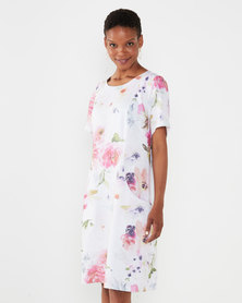 Queenspark Private Label Multi Pocket Detail Floral Woven Linen Dress Multi