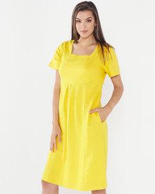 Queenspark Linen Blend Short Sleeve Tulip Woven Dress Mustard