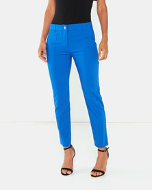 Cath Nic By Queenspark Plain 7/8'S Woven Trousers Cobalt