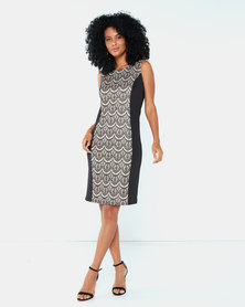 Cath Nic By Queenspark Sexy Inset Knit Dress Black