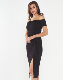 Solar Eclipse Off Shoulder Dress - Black