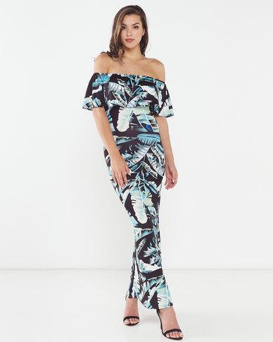 Tropical Palm Off Shoulder Maxi Dress