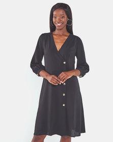 Brave Soul Long Sleeve Button Through Dress Black