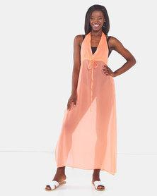 Brave Soul Halter Neck Beach Dress Neon Orange
