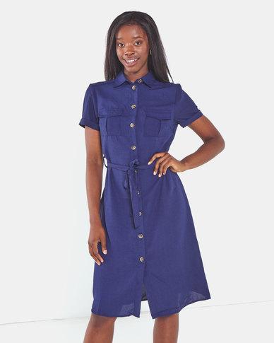 Brave Soul Button Thru Shirt Dress With Belt Navy