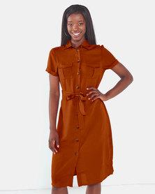Brave Soul Button Thru Shirt Dress With Belt Pumpkin