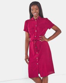 Brave Soul Button Thru Shirt Dress With Belt Fig