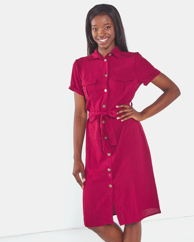 Brave Soul Button Thru Shirt Dress With Belt Fig