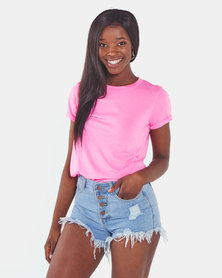 Brave Soul T-Shirt With Folded Cuffs Neon Pink