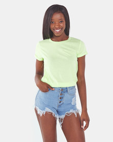 Brave Soul T-Shirt With Folded Cuffs Neon Lime