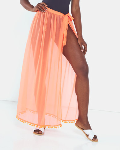 Brave Soul Beach Cover Up Spot Print Maxi Skirt Orange