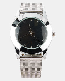 Digitime Mesh Watch with Black Dial Silver