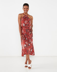 Utopia Paisley Viscose Halter Dress Rust