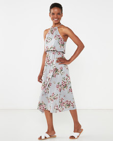 Utopia Vintage Floral Viscose Halter Dress Grey