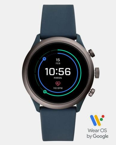 Fossil Sport Smart Watch 43mm Smokey Blue Silicone