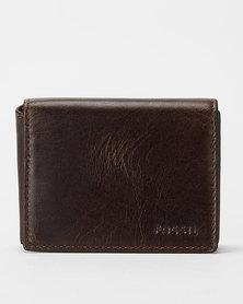Fossil  Derrick Leather Execu-fold Wallet Dark Brown