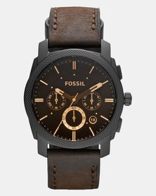 Fossil Machine Leather Watch Brown
