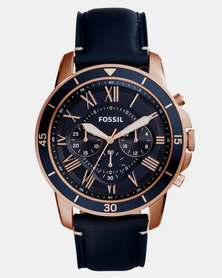 Fossil Grant Sport Leather Watch Navy