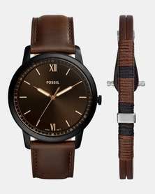 Fossil The Minimalist 3H Leather Watch Brown