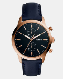 Fossil 44MM Townsman Leather Watch Navy