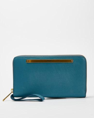 Fossil Liza Leather Clutch Wallet Blue