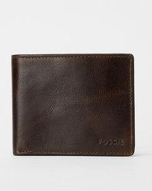 Fossil Derrick Leather Bi-fold With Flip ID Wallet Dark Brown
