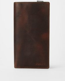 Fossil Dark Derrick Leather Execufold Wallet Brown