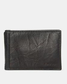 Fossil Neel Leather Money Clip Bi-fold Wallet Black
