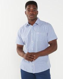 Jeep Short Sleeve Gingham Shirt Blue